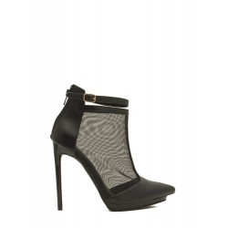 Black Mesh T strap Faux leather heels in kenya