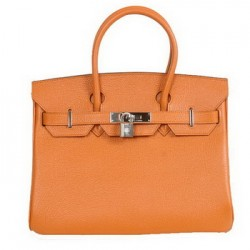 Hermes Birkin orange leather tote bags