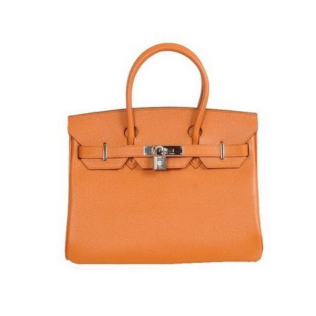 Hermes Birkin orange leather tote bags