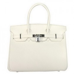White Hermes birkin leather tote bag