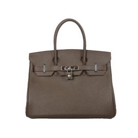 Dark coffee hermes birkin leather tote bag