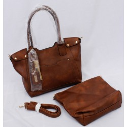 Dark tan leather hand bags